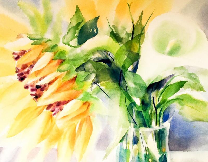 Expressive Blumenbilder in ausdrucksstarker Aquarelltechnik