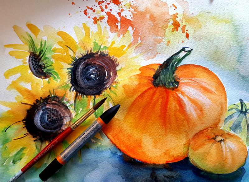 Herbstliche Arrangements in Aquarell