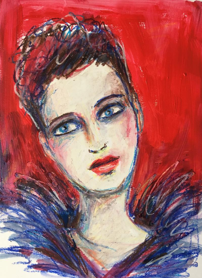 Ölkreide und Portrait