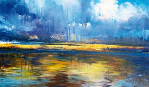 Experimentelle Landschaftsmalerei in Acryl