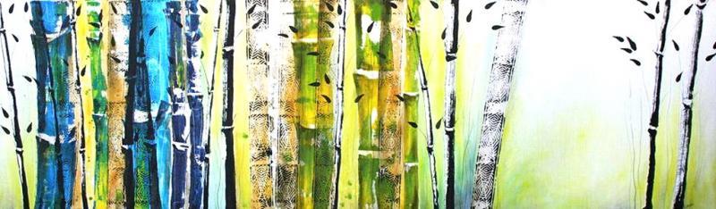 Faszination Bambus – großformatiges Malen, Spachteln und Schütten mit Tusche und Acrylfarbe