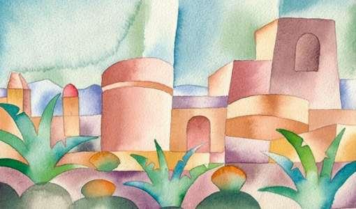 Landschaft im Licht - Farbverläufe in Aquarell