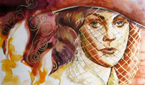 Aquarellmalerei mit Blattgold
