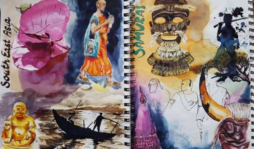 Reise Aquarelle im Skizzenbuch