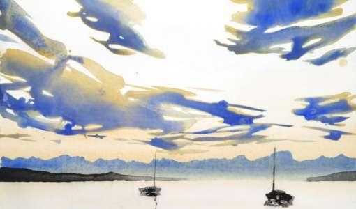 Das Blaue Land - Reduziertes Aquarell