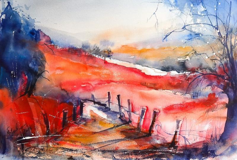 Landschaft abstrahiert und verfremdet in Aquarell