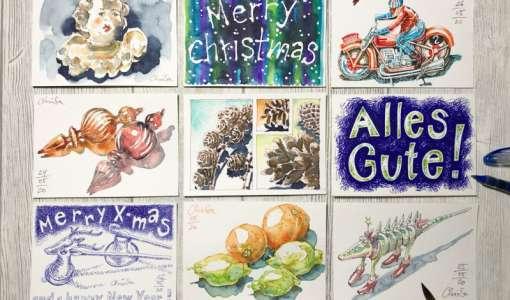 Skizzierte Weihnachtsgrüße - Die Kunstpostkarte