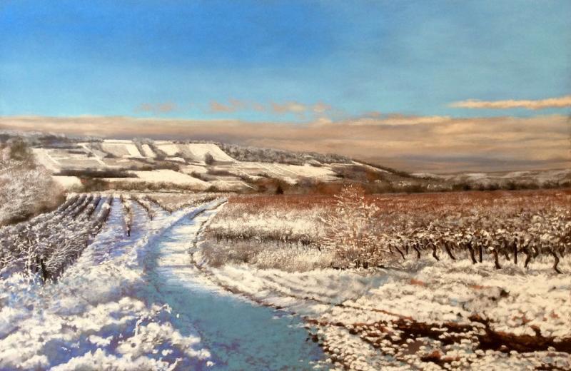 Das moderne Pastell -  Schneelandschaft